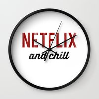 netflix Wall Clocks featuring Netflix & Chill Dirty Vintage Typography by RexLambo