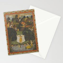 PERSIAN Mughal Indian MINIATURE Women Bathing Lotus Flowers Stationery Cards