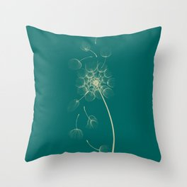 Dandelion of Teal Throw Pillow