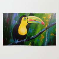 toucan Area & Throw Rugs featuring Toucan by OLHADARCHUK