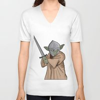 medieval V-neck T-shirts featuring Yoda medieval  by  Steve Wade ( Swade)