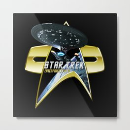 StarTrek Enterprise 1701 D Com badge 2 Metal Print