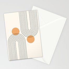 Mid Century Modern Geometric 61 (Rainbow and Sun Abstraction) Stationery Cards