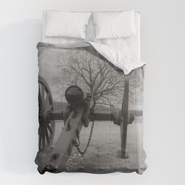 Chancellorsville Cannon Civil War Battlefield Virginia Black and White Photography  Comforters