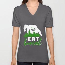Eat Local Monster Humor Unisex V-Neck