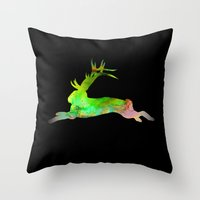 jackalope Throw Pillows featuring Jackalope by Marc Wolff
