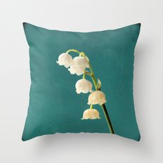 Botanical Flower Photograph - Lilies of the Valley Throw Pillow