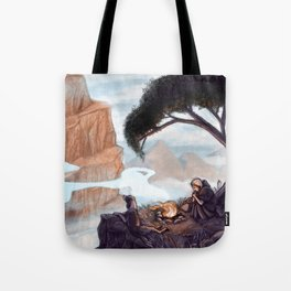 Mist-Covered Mountain Tote Bag