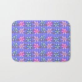 Violet Stripes with Flowers Bath Mat