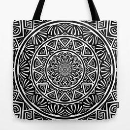 Black and White Simple Simplistic Mandala Design Ethnic Tribal Pattern Tote Bag