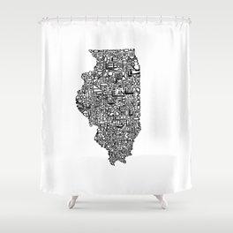 Typographic Illinois Shower Curtain