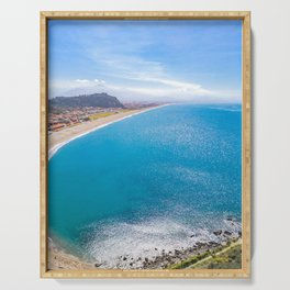 Sparkling sea brilliant water sunny day spring blue sky high view from top Serving Tray