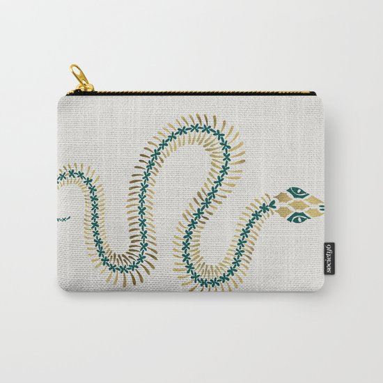 Snake Skeleton – Emerald & Gold Carry-All Pouch