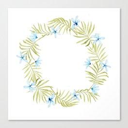 Hawaiian Watercolor Blue Plumeria Wreath Canvas Print