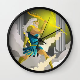 zeus jupiter god throwing a ray Wall Clock