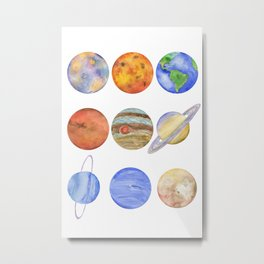 Solar System Watercolor Planets Metal Print