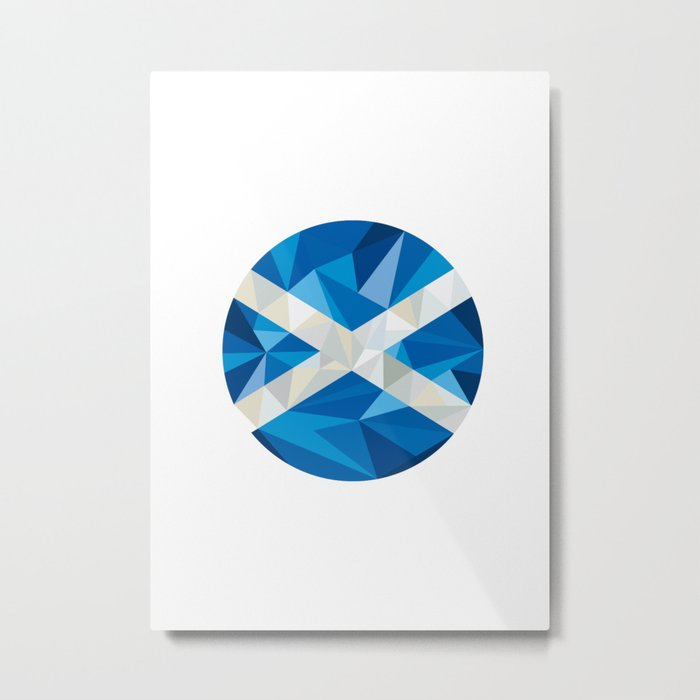 Scotland Flag Icon Circle Low Polygon Metal Print