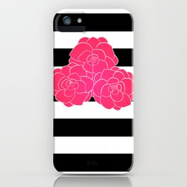 Stripes and Pink Roses iPhone Case