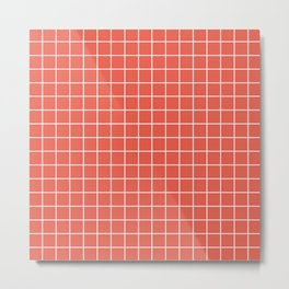 Fire opal - pink color - White Lines Grid Pattern Metal Print