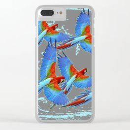 SWIRLING BLUE-GREY FLYING MACAWS ART Clear iPhone Case