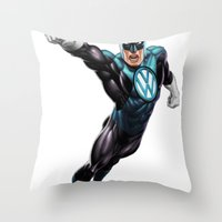 super hero Throw Pillows featuring VW Super Hero by Vin Zzep