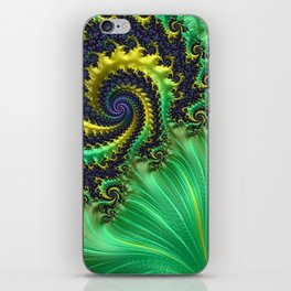 Green Lettuce Fractal by Amanda Martinson iPhone Skin