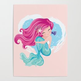 Cute mermaid illustration Poster