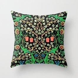 William Morris Jacobean Floral, Black Background Throw Pillow