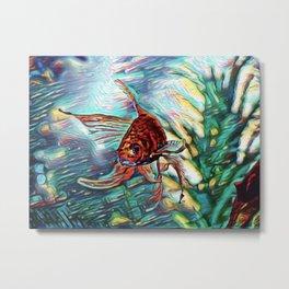 Aquamarine Goldfish Dream   Painting Metal Print