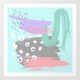 Minimalist modern girly pastel lilac purple pink teal mint green brushstroke Art Print