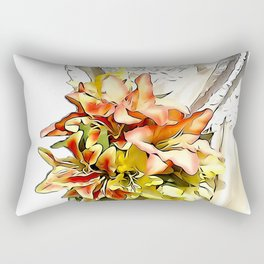 The bride had a orange lily bouquet Rectangular Pillow
