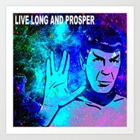 spock Art Prints featuring SPOCK by Saundra Myles
