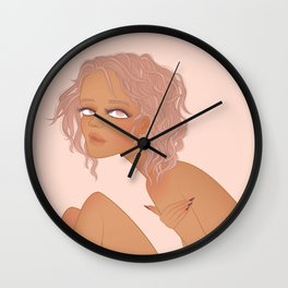 nude portrait of tanned girl with violet hair Wall Clock