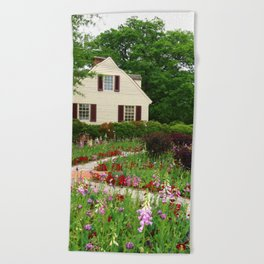 Cottage Garden - Colonial Williamsburg Beach Towel