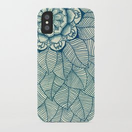 Emerald Green, Navy & Cream Floral & Leaf doodle iPhone Case
