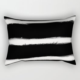 Form Brush Stripe Horizontal White on Black Rectangular Pillow