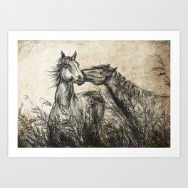 Kiss_Charcoal drawing vintage paper Art Print