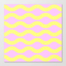 Wavey Lines Yellow & Pink Canvas Print