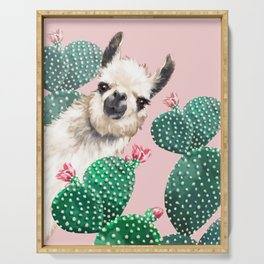 Llama and Cactus Pink Serving Tray