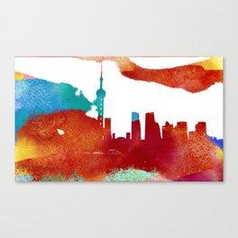 Shanghai skyline. Watercolor texture. Canvas Print