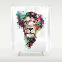 king Shower Curtains featuring THE KING by RIZA PEKER