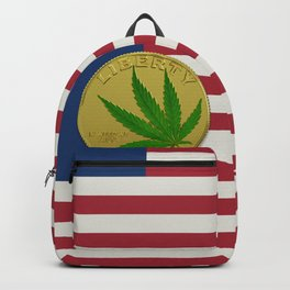 In Weed We Trust - Coin on USA flag Backpack