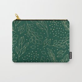 Hand drawn gold foil forest green polka dots leaves Carry-All Pouch