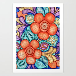 Watercolor Doodle Art | Rafflesia Art Print