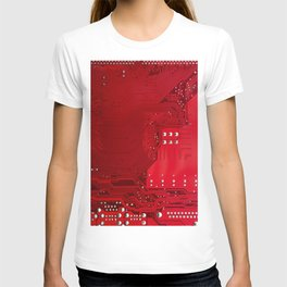 red electronic circuit board T-shirt