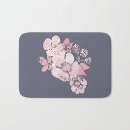 Watercolor floral art pink & grey on ash blue Bath Mat