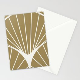 Diamond Series Round Sun Burst White on Gold Stationery Cards