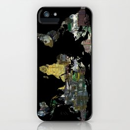 World Map Silhouette - A Busy World Painting iPhone Case