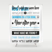 floyd Shower Curtains featuring Wish you were here - Pink Floyd by Fiona Pouet
