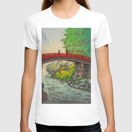 Vintage Japanese Woodblock Print Garden Red Bridge River Rapids Beautiful Green Forest Landscape T-shirt